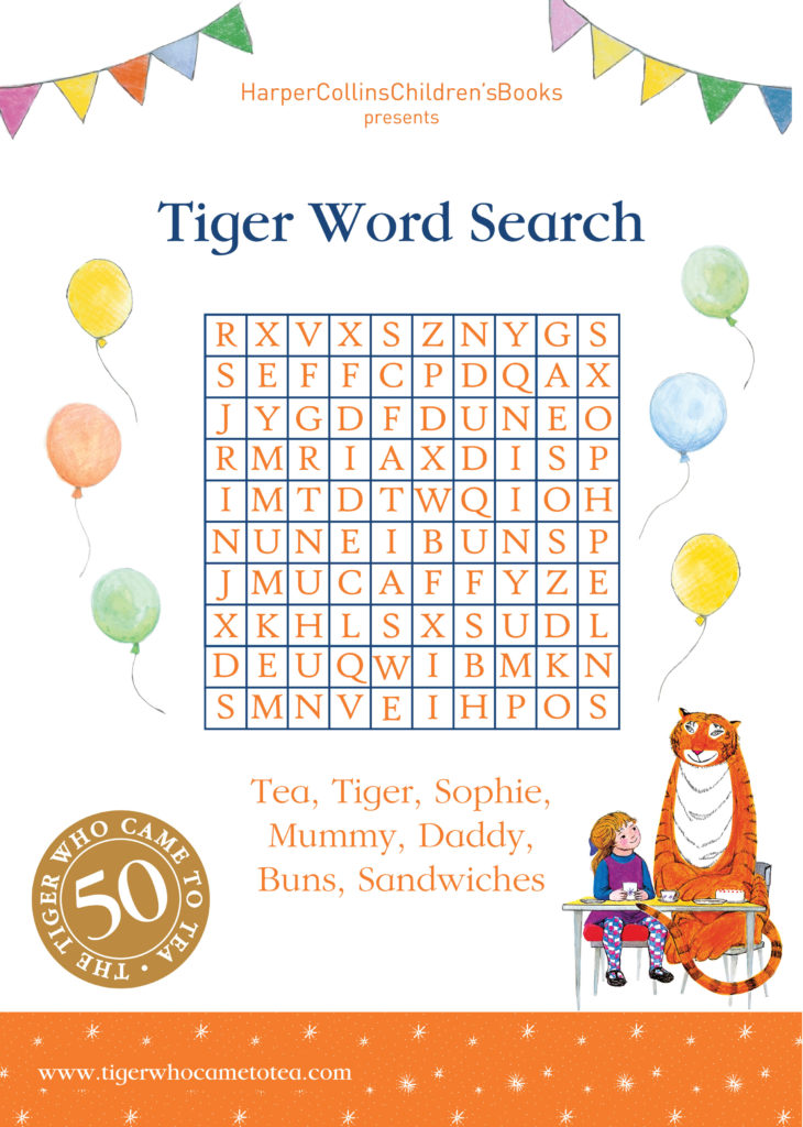 Word Search activity - Tiger Who Came to Tea